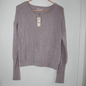 NWT Garage Sz M Chandail Grey Knit Fuzzy Sweater
